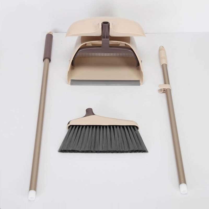 Комплект для уборки Boomjoy Метла с совком, кремовый, коричневый, черный, серый