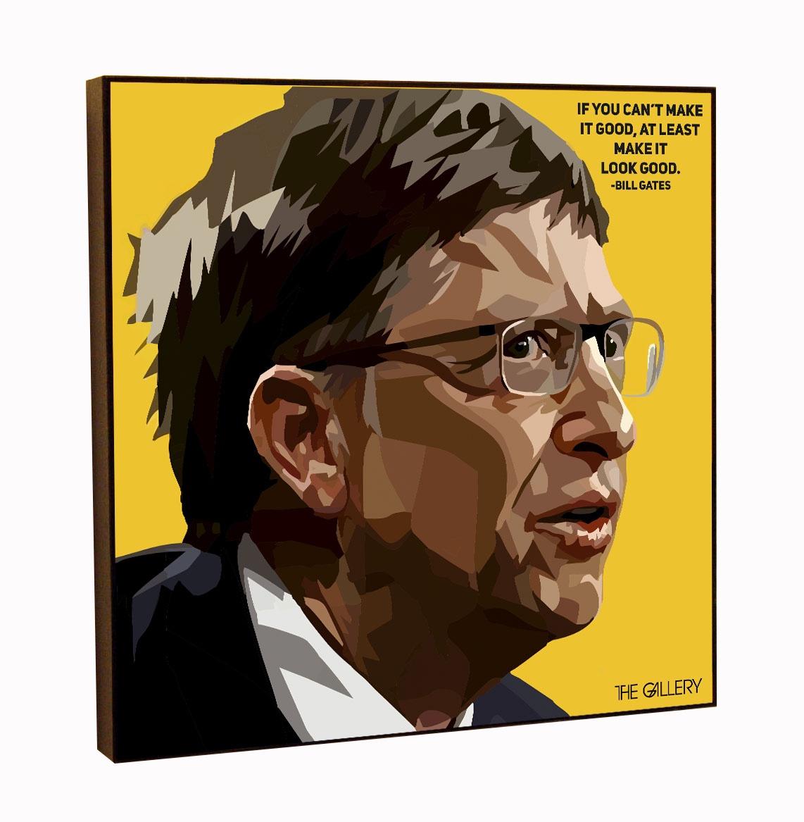 Постер The Gallery Картина Билл Гейтс в стиле поп-арт 25 х 25 см, принт + МДФ, Оргалит думай как билл гейтс