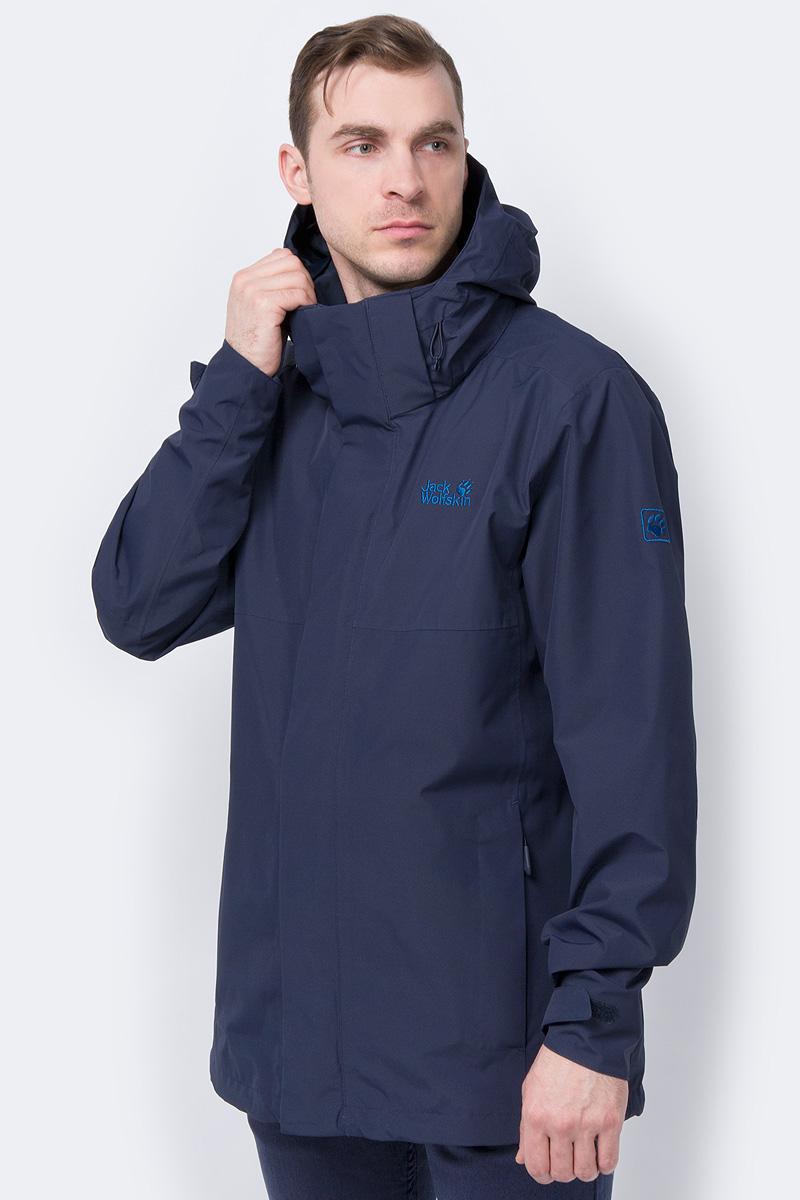 Куртка мужская Jack Wolfskin Seven Peaks Jacket Men, цвет: темно-синий. 1110191-1010. Размер XXL (54)1110191-1010Прогноз погоды предрекает ливни и грозы. Это не помешает вам наслаждаться прогулкой. Потому что, если на вас куртка SEVEN PEAKS (СЭВЕН ПИКС), вы знаете, что не промокнете. Эта водостойкая, дышащая куртка для хайкинга оснащена практичными фишками. К примеру, системная застежка-молния, которая позволяет превратить ее в зимнюю куртку; а также регулируемый капюшон, который можно отстегивать. Когда снова засияет солнце и куртка будет больше не нужна, просто сложите ее в рюкзак. А когда наступит зима, просто состегните ее с теплой внутренней курткой. Это очень просто сделать благодаря системной молнии.
