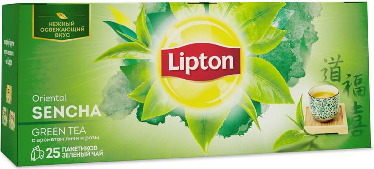 Lipton Oriental Sencha зеленый чай в пакетиках с ароматом личи и розы, 25 шт чай lipton oriental temple зеленый байховый