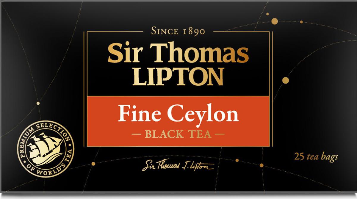 Sir Thomas Lipton Fine Ceylon чай черный листовой в пакетиках, 25 шт lipton черный чай heart of ceylon 100 шт