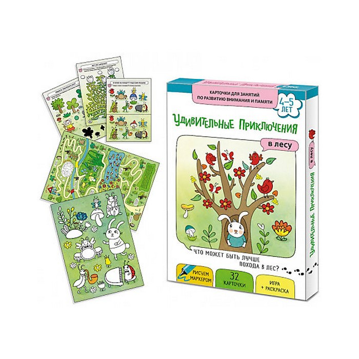 Обучающая игра Маленький гений Карточки Удивительные приключения в лесу комплекты нательные для малышей жанэт комплект