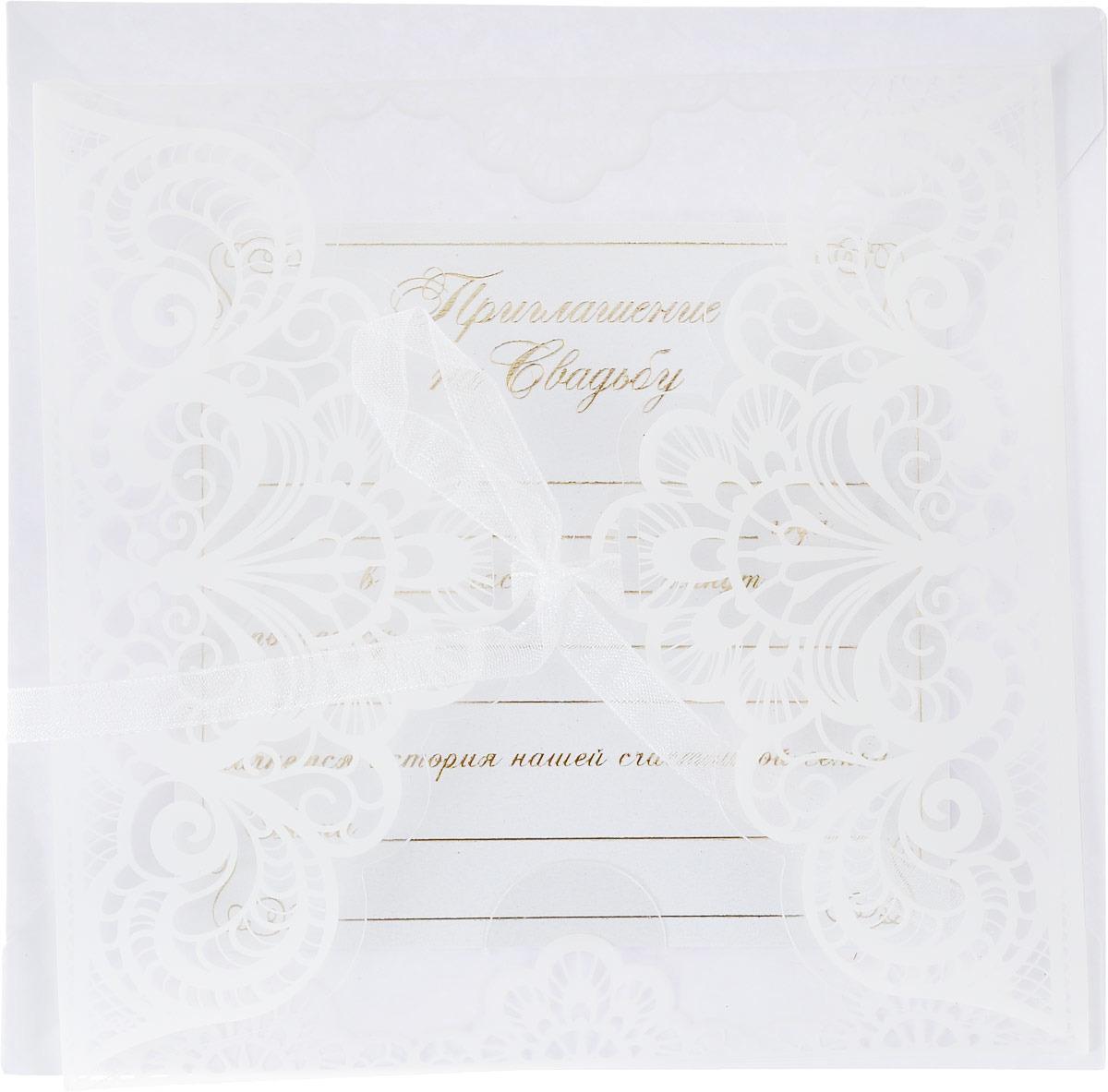 """Приглашение на свадьбу """"Два сердца - одна любовь"""", 12 х 12 см. 1353041"""