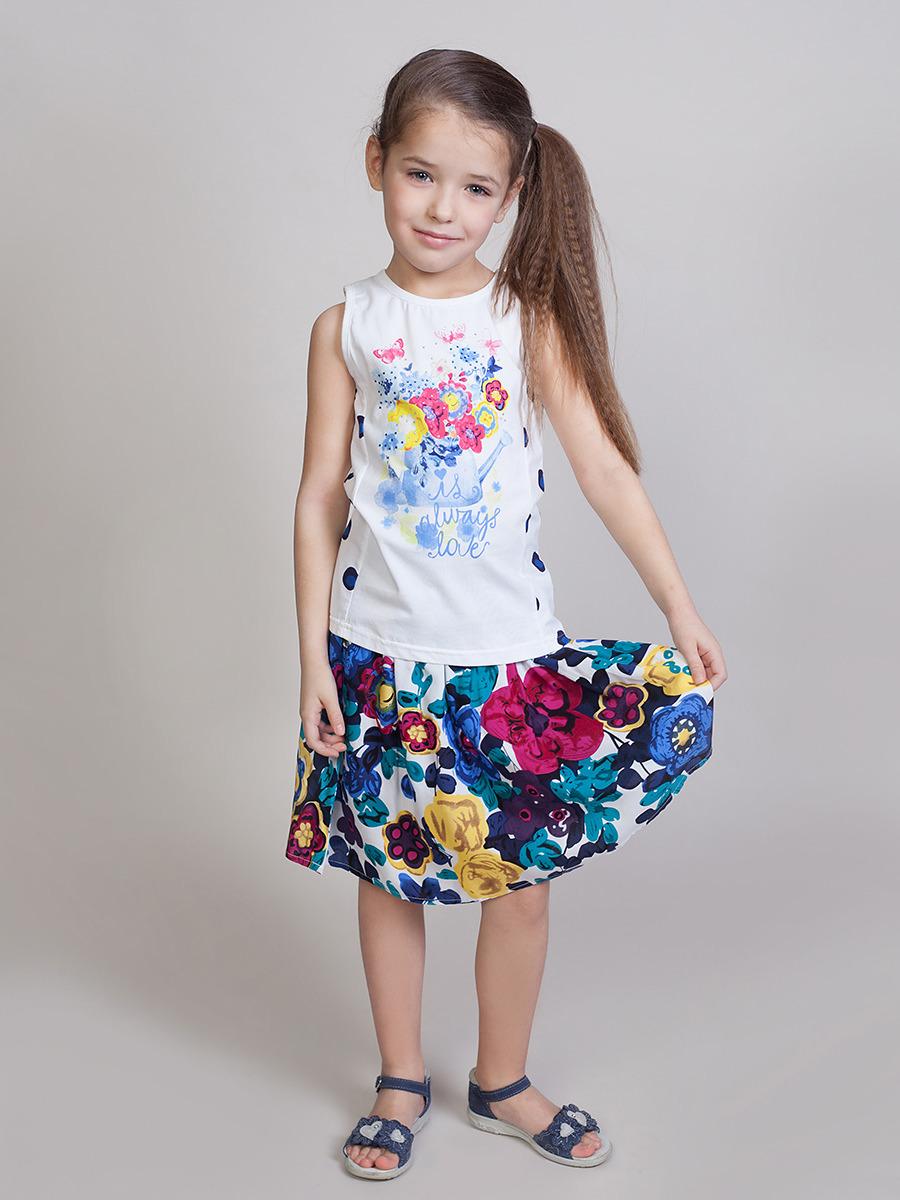 Юбка для девочки Sweet Berry, цвет: разноцветный. 814080. Размер 104814080Вискозная юбка для девочек на эластичном поясе-резинке. Из ткани с цветочным принтом.