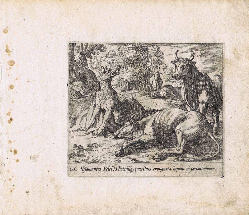 Гравюра Антонио Темпеста Метаморфозы. Превращение волка в камень. Офорт. Нидерланды, Амстердам, 1606 год