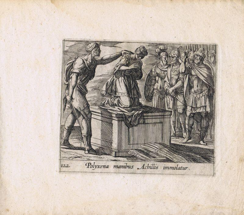 Гравюра Антонио Темпеста Метаморфозы. Поликсену приносят в жертву на могиле Ахилла. Офорт. Нидерланды, Амстердам, 1606 год