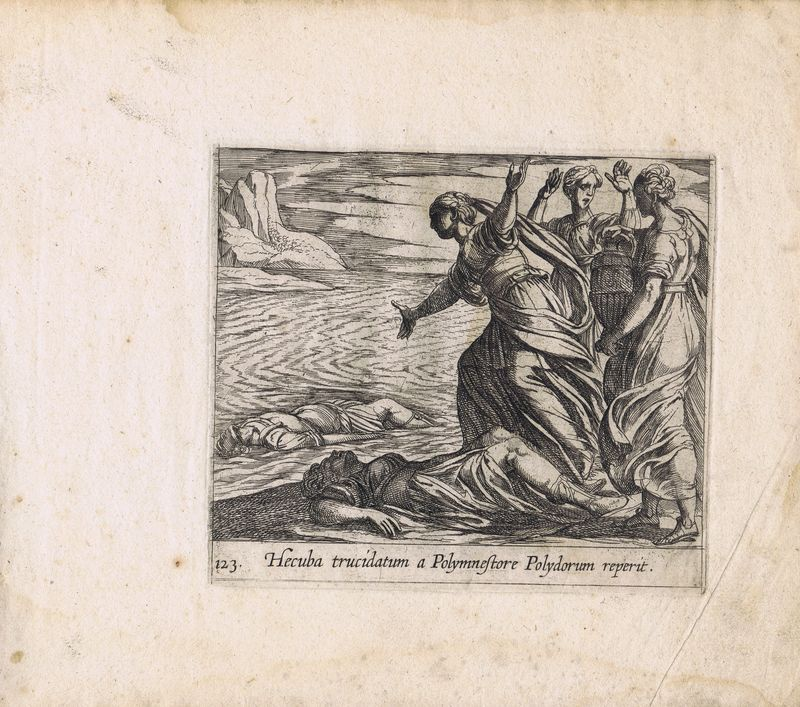 Гравюра Антонио Темпеста Метаморфозы. Гекуба находит тело Полидора. Офорт. Нидерланды, Амстердам, 1606 год