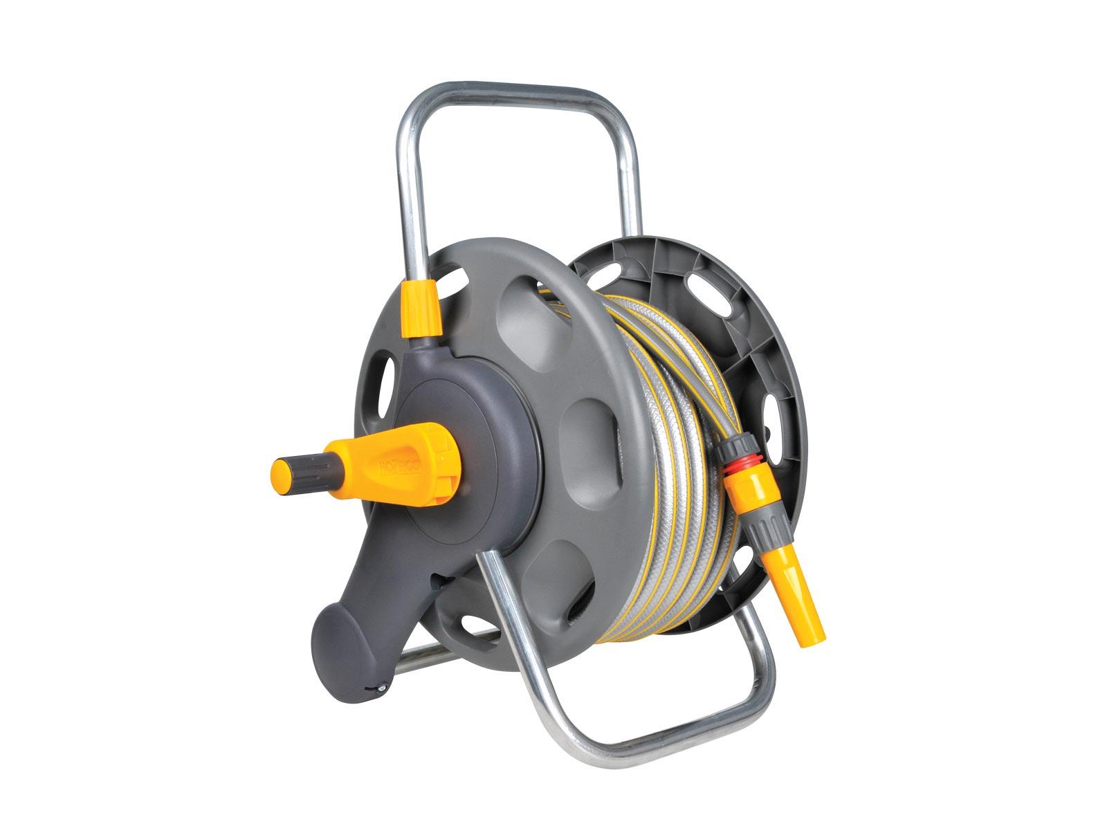 """Катушка для шланга Hozelock 2471 для шланга 1/2"""" 60 м + шланг 1/2"""" 25 м + коннекторы + наконечник для шланга, серый, желтый"""