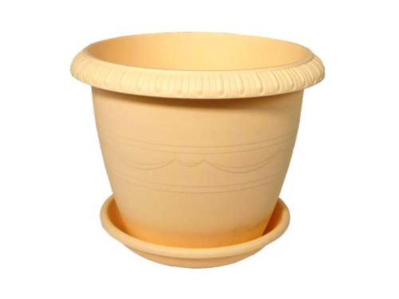 Горшок для цветов с поддоном пластиковый LE JARDIN (Ле Жардин), диаметр 20 см, объем 2,8 литров, высота 16 см, бежевый цвет, дренаж, кашпо, боковая система полива, пластик, 102-2 ТЕК.А.ТЕК горшок le jardin d 25 5 5л терракот