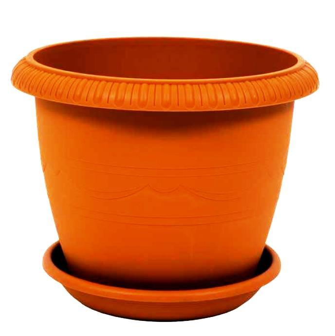 Горшок для цветов с поддоном пластиковый LE JARDIN (Ле Жардин), диаметр 20 см, объем 2,8 литров, высота 16 см, терракотовый цвет, дренаж, кашпо, боковая система полива, пластик, 102-4 ТЕК.А.ТЕК горшок le jardin d 25 5 5л терракот