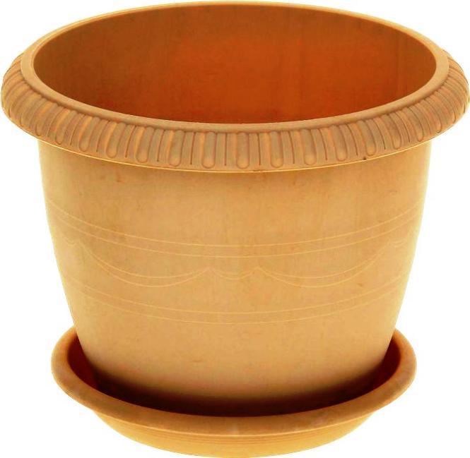 Горшок для цветов ТЕК.А.ТЕК комнатных с поддоном LE JARDIN (Ле Жардин) диаметр 25 см, объем 5,5 л. Ар. 103-3 МР, золотой золотой горшок