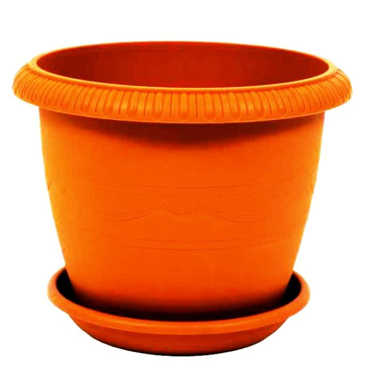 Горшок для цветов с поддоном пластиковый LE JARDIN (Ле Жардин), диаметр 25 см, объем 5,5 литров, высота 20 см, терракотовый цвет, дренаж, кашпо, боковая система полива, 103-4, ТЕК.А.ТЕК горшок le jardin d 25 5 5л терракот