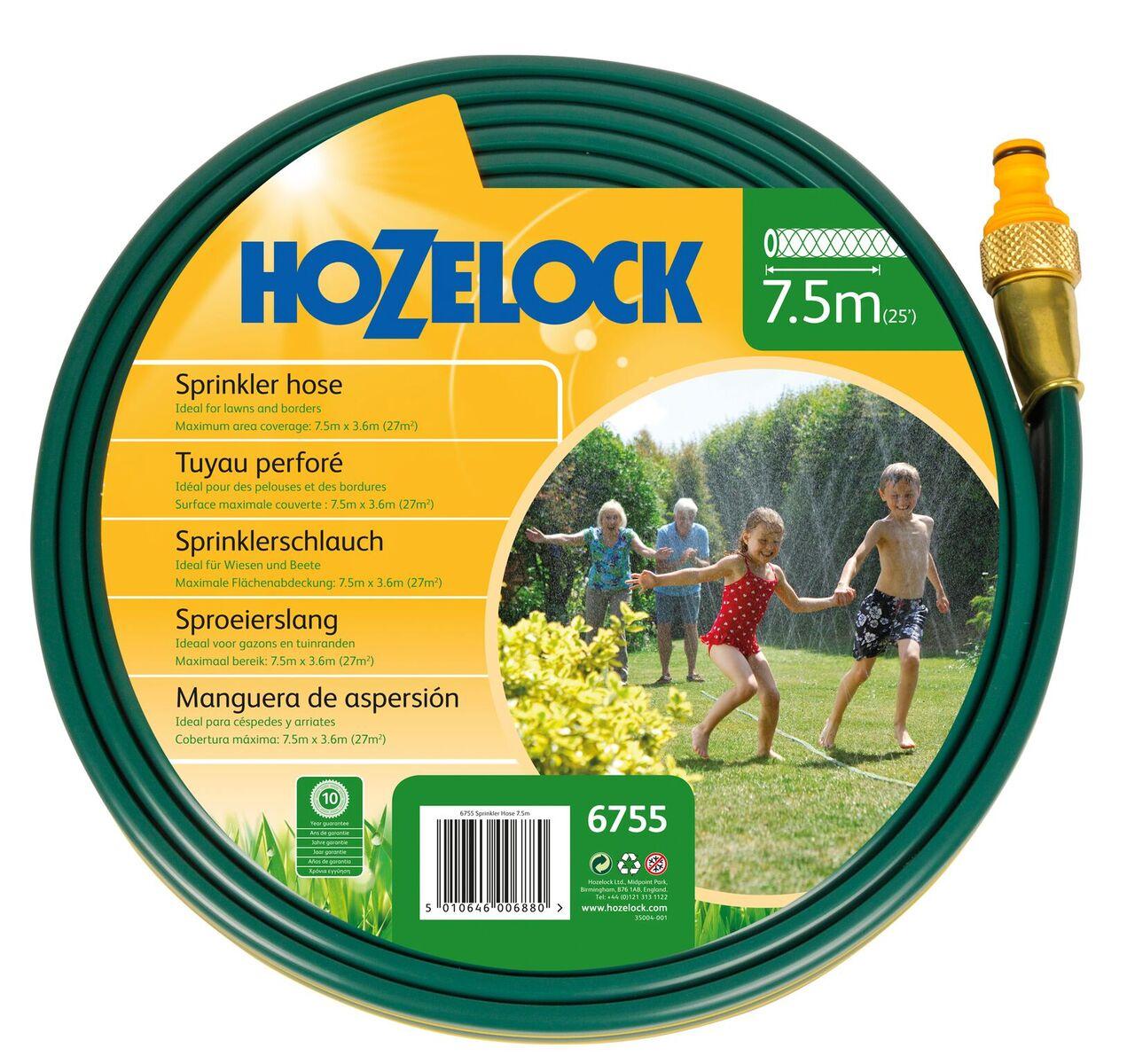 Шланг поливочный Hozelock разбрызгивающийся 6755, 7,5 м + коннекторы, зеленый