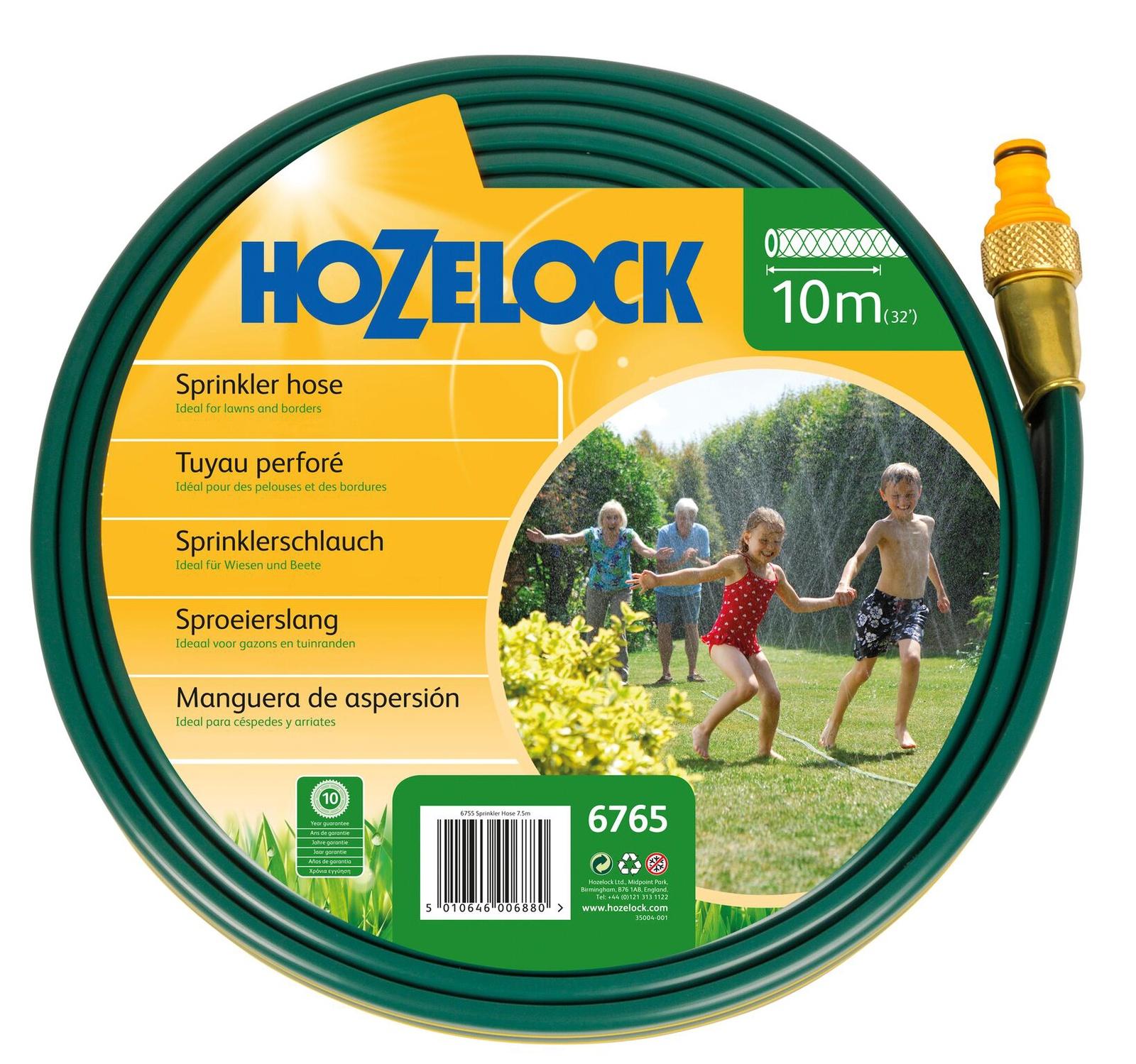 Шланг поливочный Hozelock разбрызгивающийся 6765, 10 м + коннекторы, зеленый
