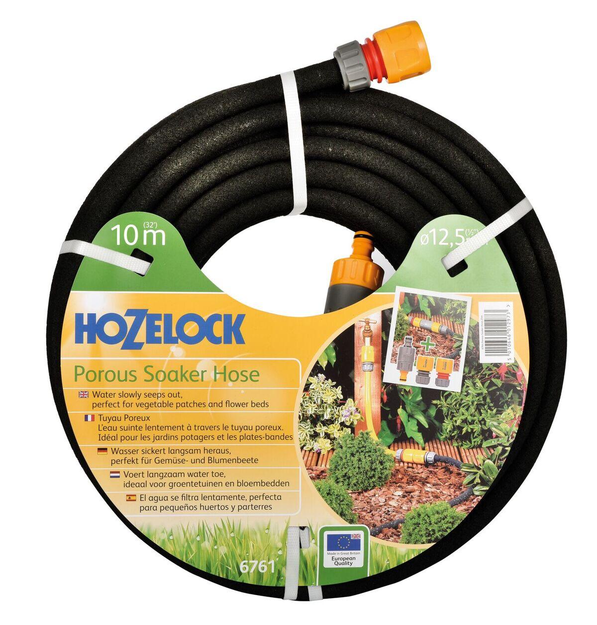 """Шланг поливочный Hozelock пористый 6761, 1/2"""" 10 м + коннекторы, черный"""