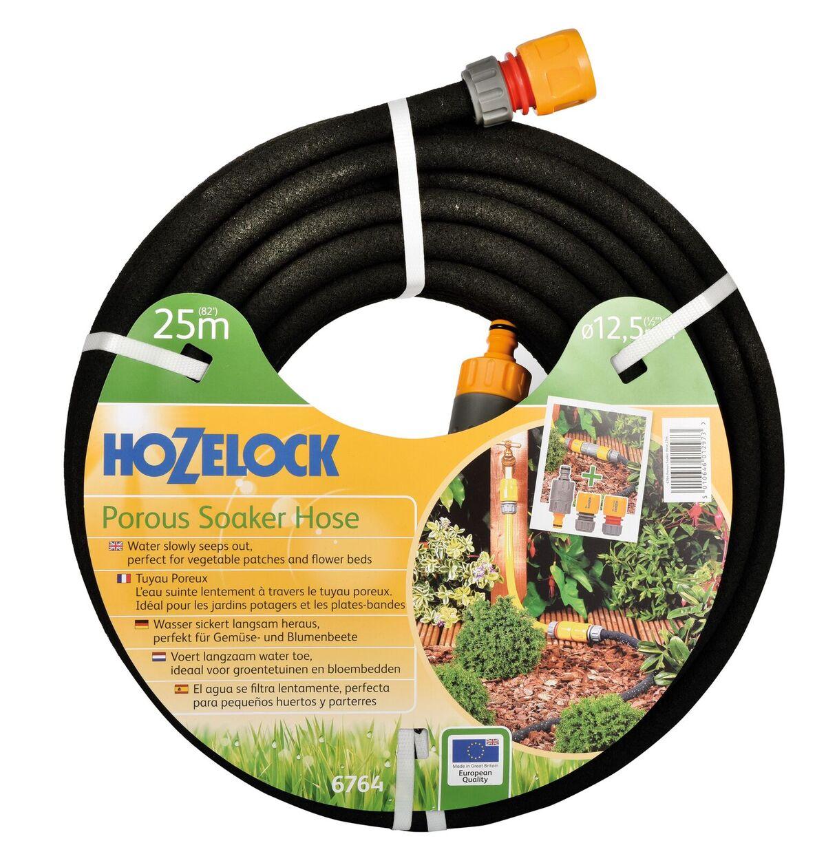 """Шланг поливочный Hozelock пористый 6764, 1/2"""" 25 м + коннекторы, черный"""