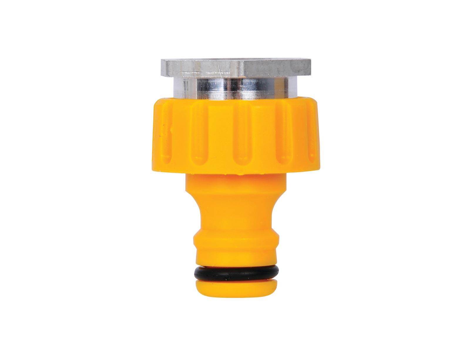 Коннектор шланга Hozelock 2304 для крана с аэраторной насадкой в помещениях резьбовой, 22 мм - 24 мм, желтый насадка для крана мультидом утенок vl34 43