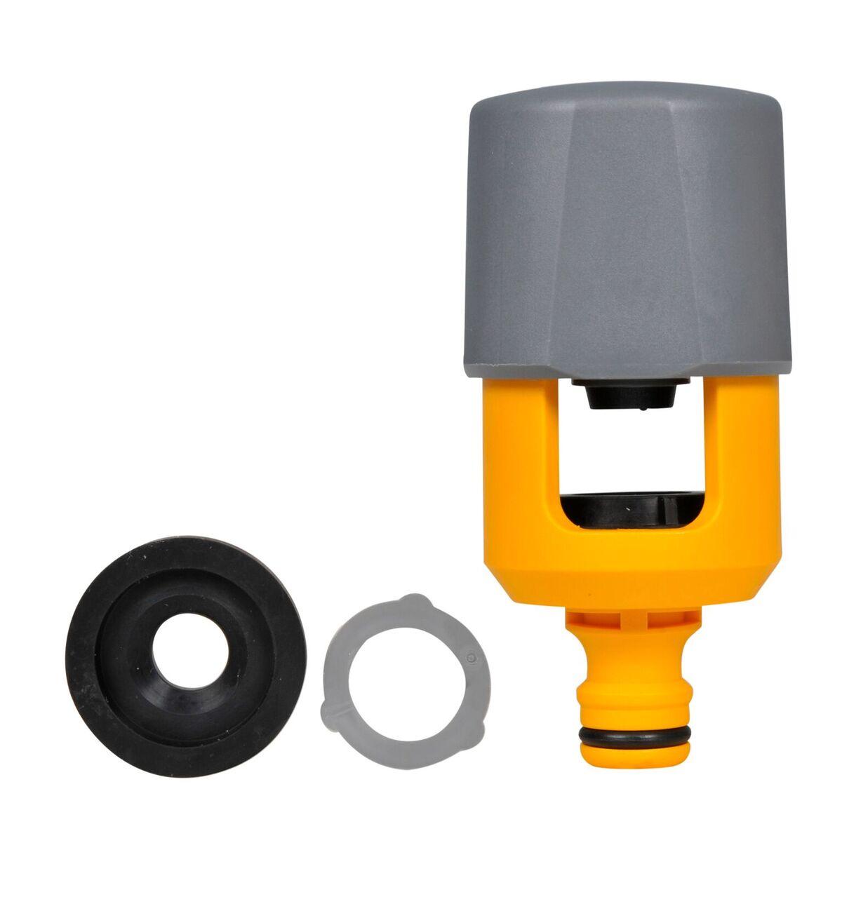 Коннектор шланга Hozelock 2274 для крана-смесителя до 43 мм на 34 мм, желтый, серый, черный