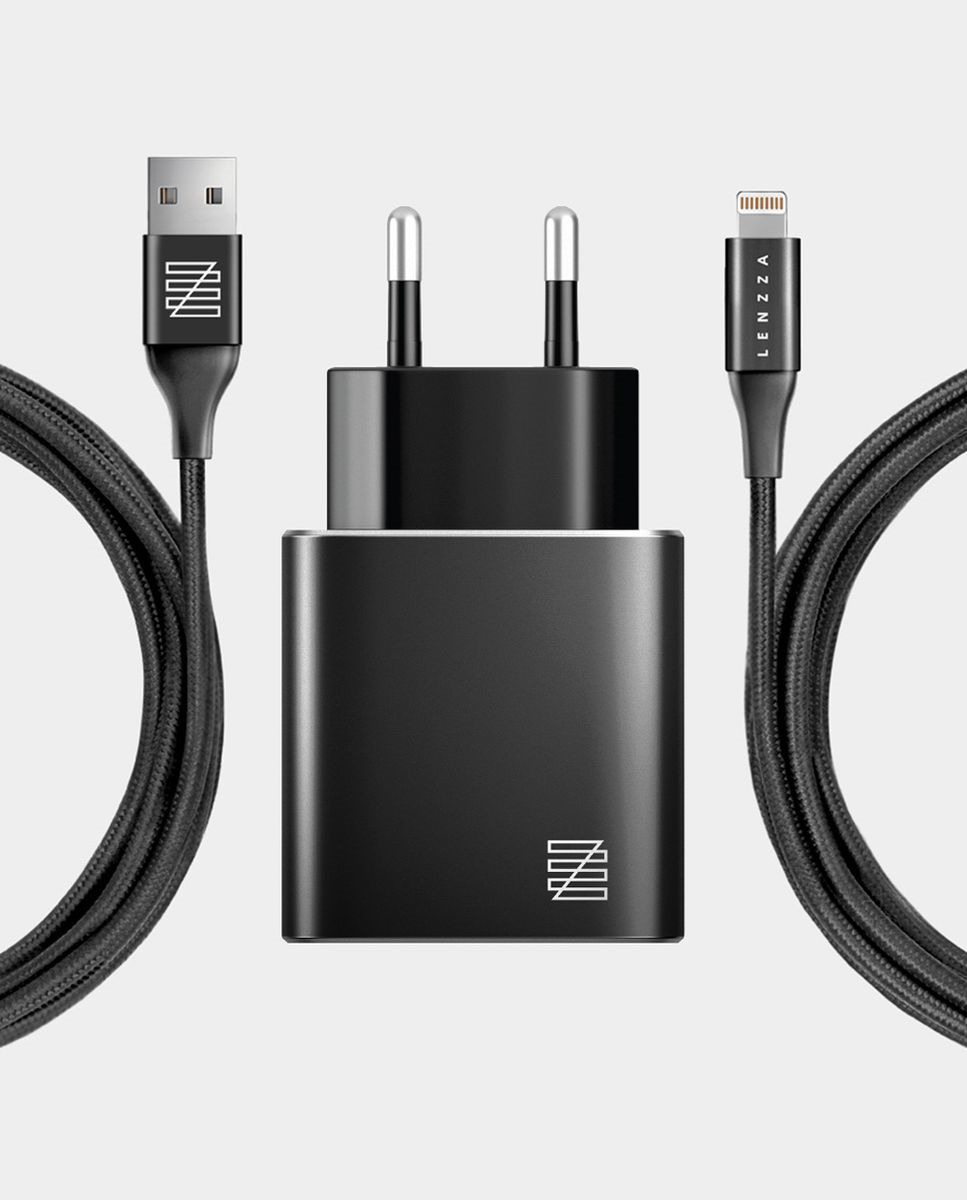 Сетевое зарядное устройство Lenzza Piazza Metallic Wall Charger LSPWCMFI 2,1 А + кабель Lightning кевларовый, черный цена