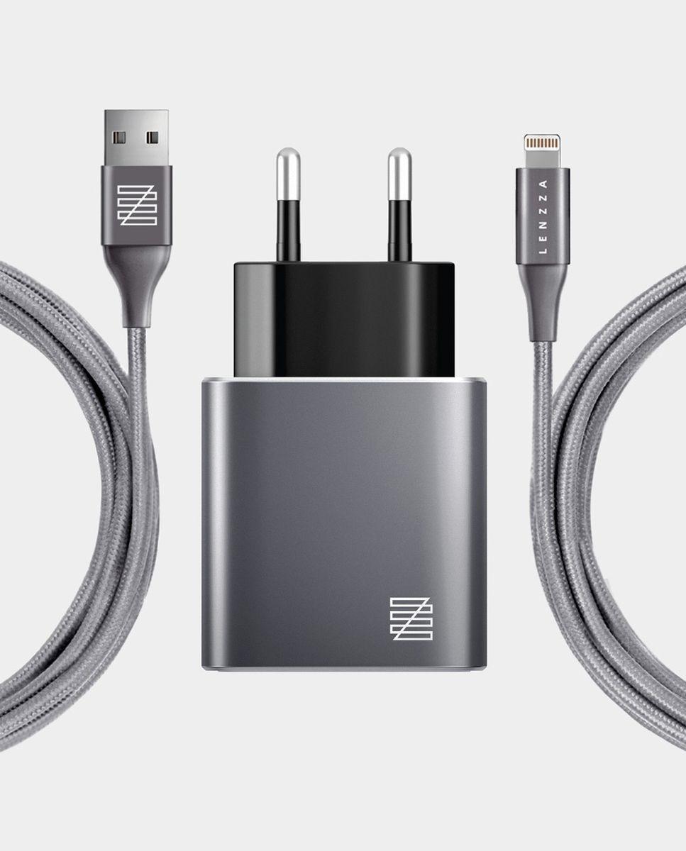 Сетевое зарядное устройство Lenzza Piazza Metallic Wall Charger LSPWCMFI 2,1 А + кабель Lightning кевларовый, серый цена