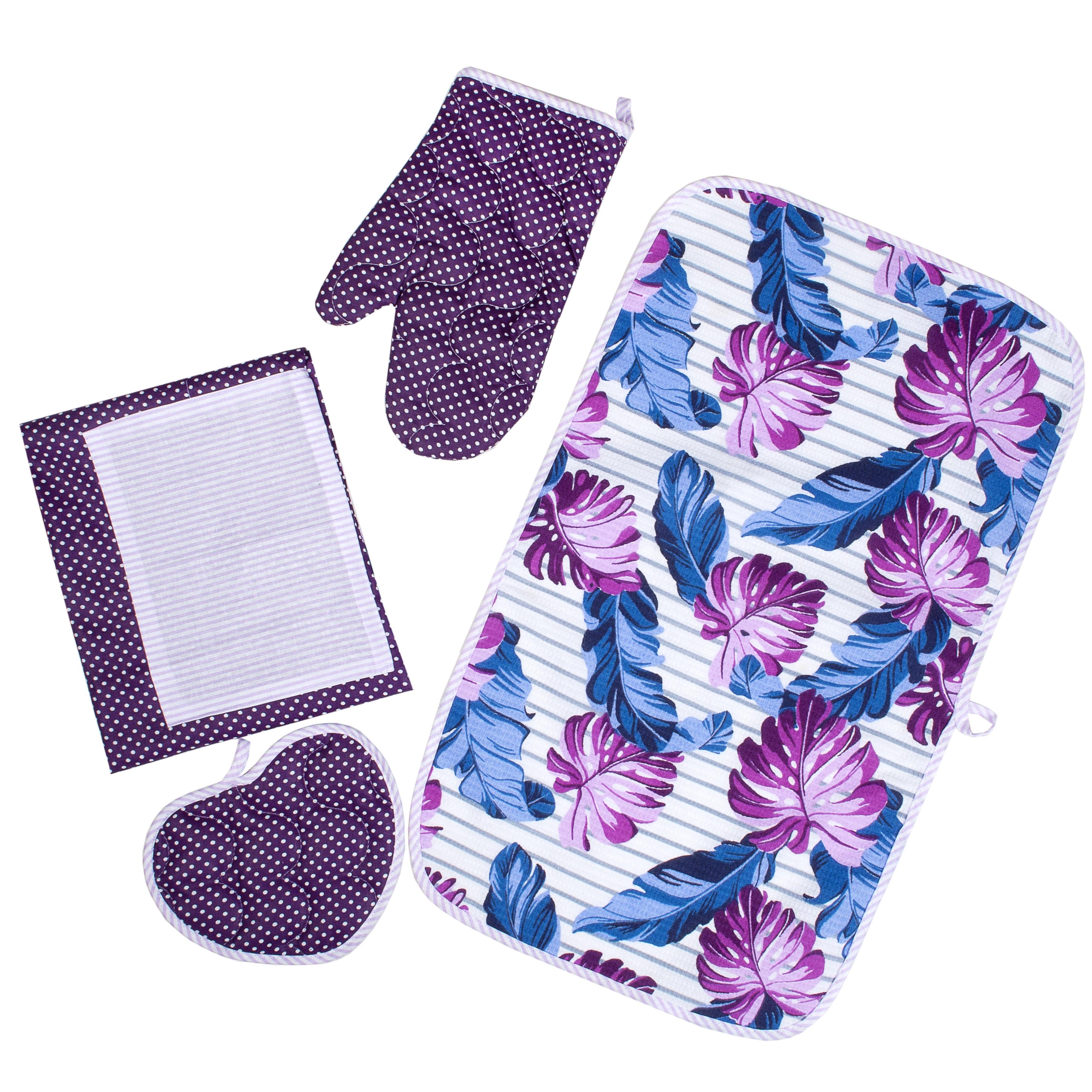 Комплект для кухни ТК Традиция 4 предмета, фиолетовый, белый4187/ФиолетовыйНабор для кухни Весеннее ретро из 4-х предметов, выполнен из 100 % хлопка. Изделия практичны и просты в уходе. В состав набора входит: изделия из бязи пл. 125 гр./кв.м.: фартук 55*70 - 1 шт.; стеганая рукавичка- прихватка 30х17 - 1 шт., прихватка-сердце 16х20 см - 1 шт.; изделия из вафельного полотна пл. 165 гр./кв.м.: полотенце с окантовкой 35х60 см - 1 шт. Бязь - хлопчатобумажная плотная ткань, обладает износостойкостью, низкой сминаемостью. Вафельное полотно отличается высокой впитываемостью и износоустойчивостью. Пошив в строгом соответствии с ГОСТ. Упаковка - пакет с еврослотом.
