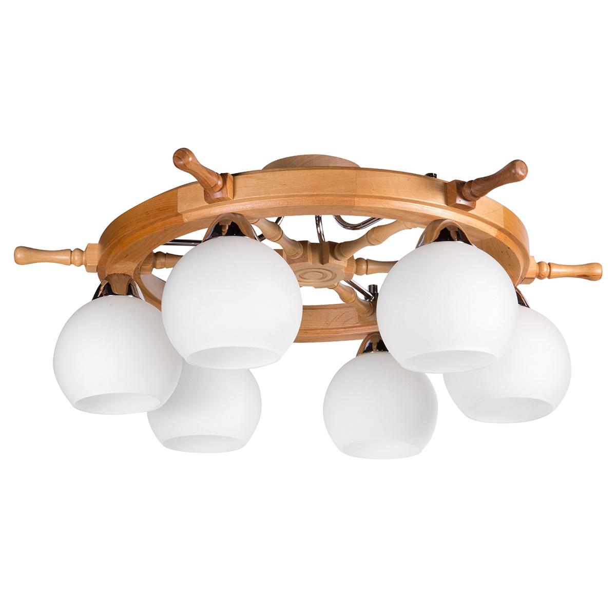 Потолочный светильник Дубравия Штурвал113-71-26Свет-к потолочный Штурвал 6хЕ27х60Вт натуральный 113-71-26 Элегантная модель этого светильника, который выпускается под брендом Дубравия, относится к серии изделий – Штурвал. Современный стиль светильника идеально подойдет для гостиной, но также отлично будет смотреться и в других комнатах квартиры и дома. Свет-к потолочный Штурвал 6хЕ27х60Вт натуральный 113-71-26 можно крепить как на простом, так и на натяжном потолке, значительно разнообразив варианты декора комнат с помощью этой модели светильника. Основные характеристики плафона: форма плафона – круглый основной цвет плафона – белый материал плафона – стекло поверхность плафона – матовая Позволяют легко вписать эту модель светильника в любой дизайн квартиры или дома. При производстве этой модели светильника используется дерево в качестве материала для арматуры, которая окрашена в цвет – натуральный. Лампочки с цоколем E27 и используемой мощностью – 6x60Вт рассчитаны на максимальную площадь освещения – 18-30 кв.м. Производитель светильников под брендом Дубравия гарантирует неизменное качество продукции и поддержку высокого уровня сервиса для своих потребителей.