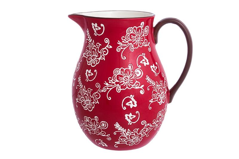 <b>Кувшин Elan Gallery Цветочная</b> симфония, красный, белый ...