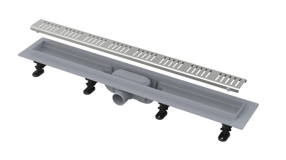 Симпл желоб водоотводящий L 550 мм, пластик, с решеткой из нержавеющей стали, матовый (APZ10-550M) комплект пластик водоотводн лотка лайт со стальн решеткой