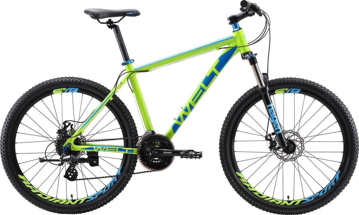 Велосипед горный Welt Ridge 2.0 D 2019, зеленый, синий, диаметр колес 26 велосипед welt ridge 2 0 hd 2019
