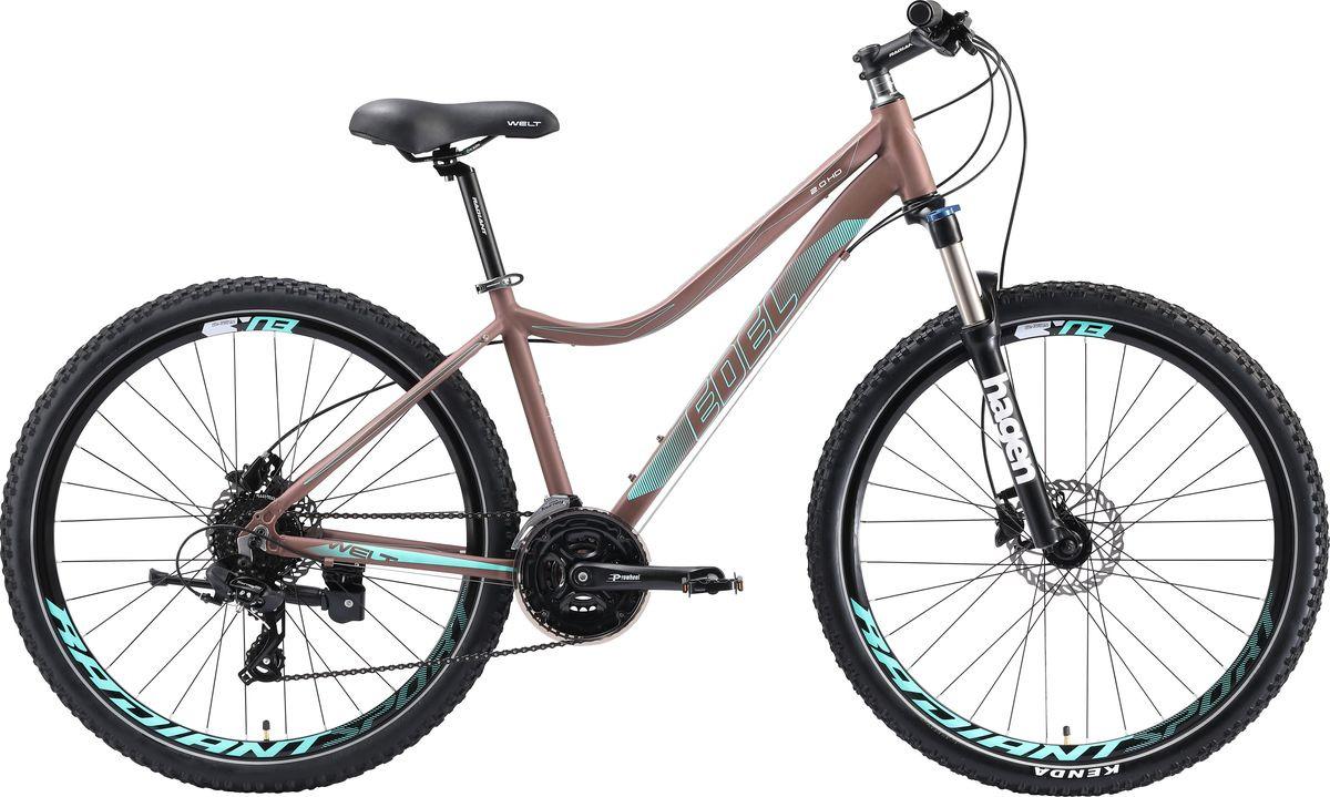 Велосипед горный Welt Edelweiss 2.0 HD 27 2019, золотистый, голубой, диаметр колес 27,5