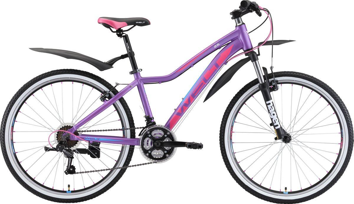 Велосипед горный Welt Edelweiss 26 Teen 2019, фиолетовый, розовый, синий, диаметр колес 26