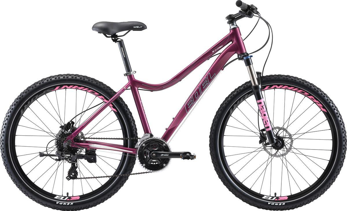 Велосипед горный Welt Edelweiss 2.0 HD 27 2019, фиолетовый, бирюзовый, диаметр колес 27,5