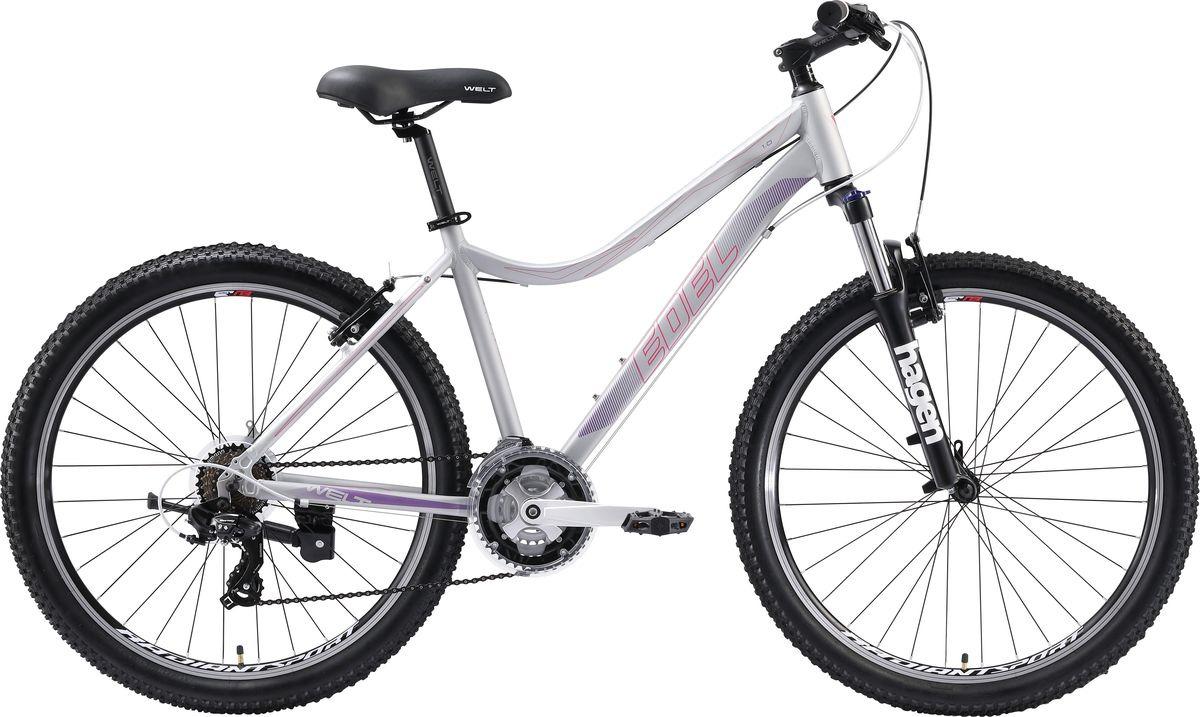Велосипед горный Welt Edelweiss 1.0 2019, серый, розовый, диаметр колес 26