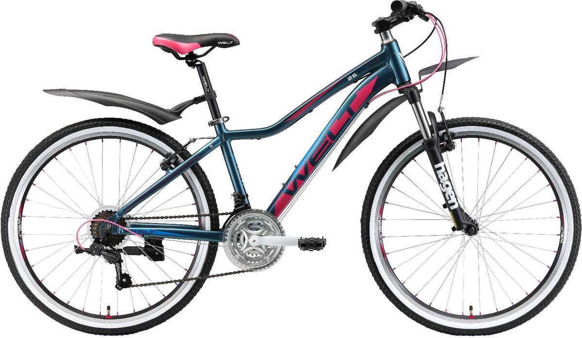 Велосипед горный Welt Edelweiss 26 Teen 2019, синий, розовый, диаметр колес 26
