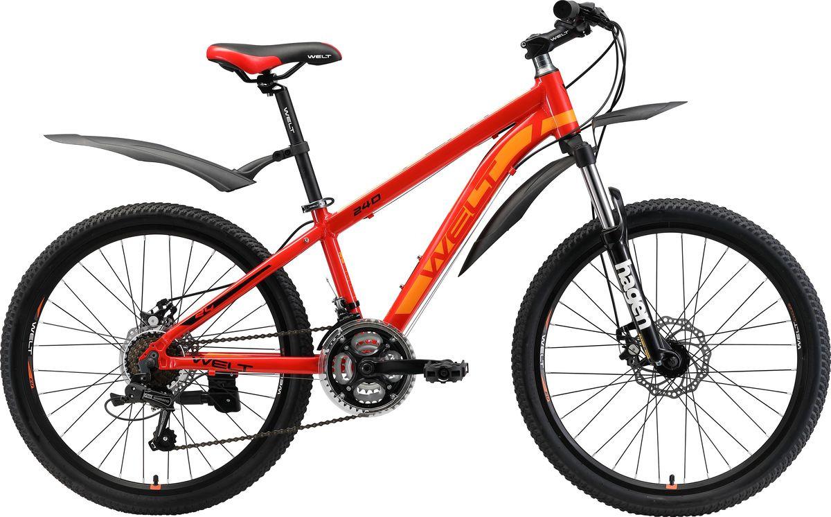 Велосипед детский Welt Peak 24 Disc 2019, красный, желтый, диаметр колес 24