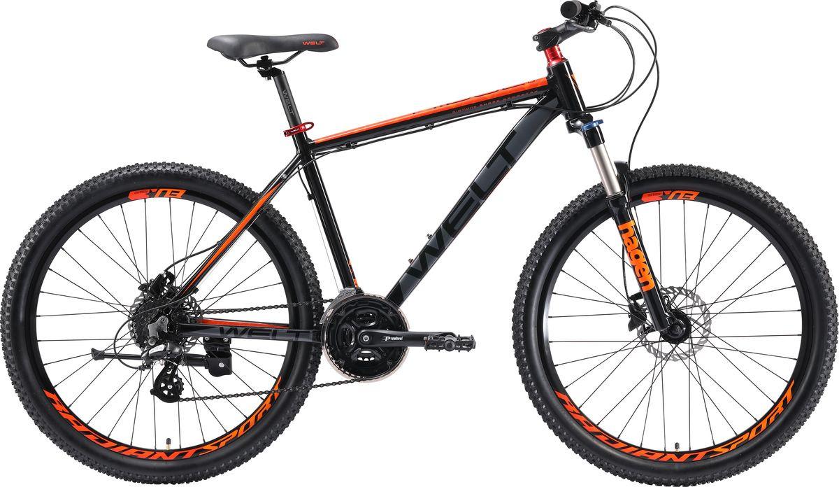 Велосипед горный Welt Ridge 2.0 HD 2019, черный, оранжевый, серый, диаметр колес 26 велосипед welt ridge 2 0 hd 2019