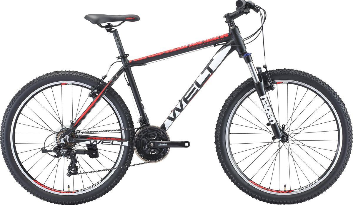 Велосипед горный Welt Ridge 1.0 V 2019, черный, красный, белый, диаметр колес 26 велосипед welt ridge 2 0 hd 2019