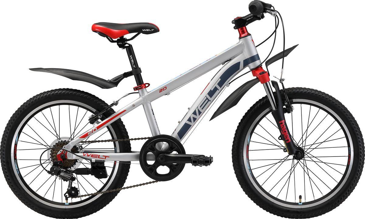 Велосипед детский Welt Peak 20 2019, серебристый, красный, диаметр колес 20