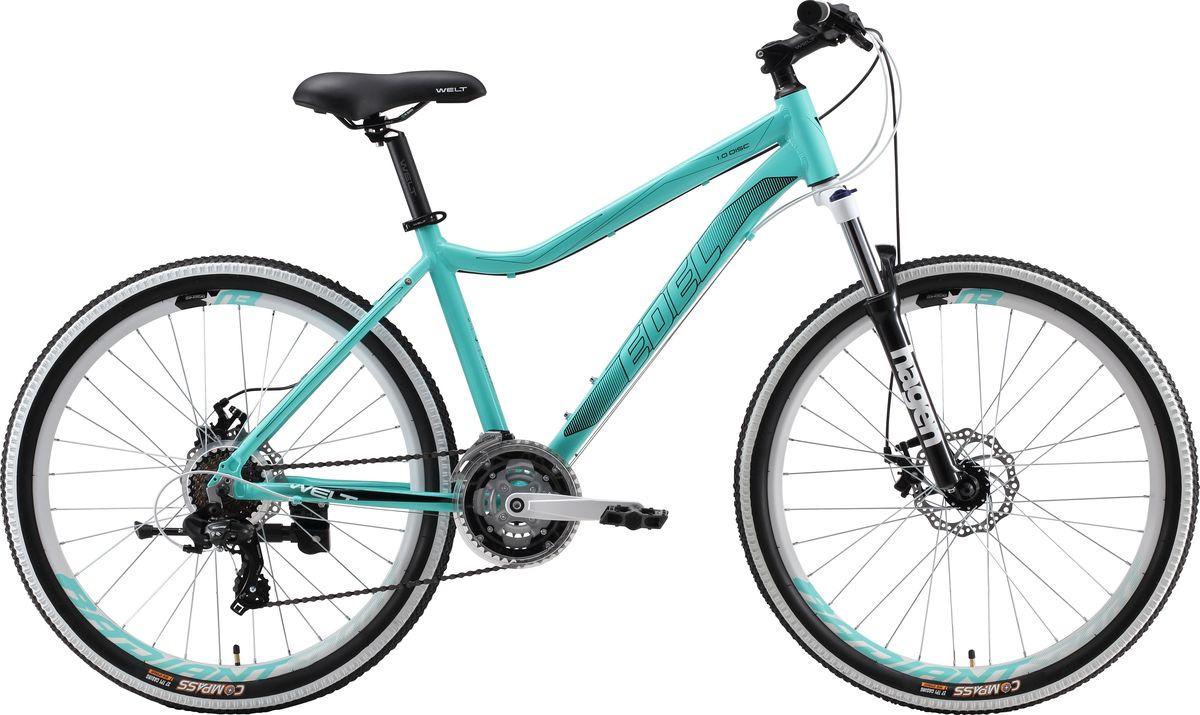 Велосипед горный Welt Edelweiss 1.0 D 2019, бирюзовый, диаметр колес 26