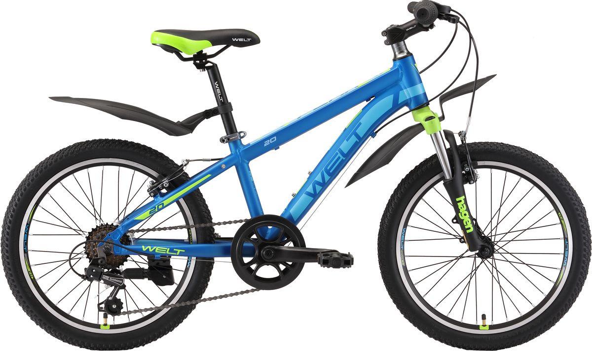 Велосипед детский Welt Peak 20 2019, синий, зеленый, диаметр колес 20