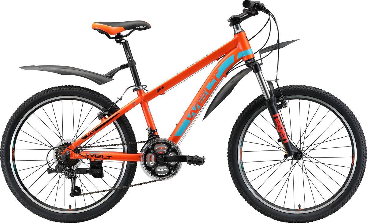 Велосипед детский Welt Peak 24 2019, оранжевый, синий, диаметр колес 24