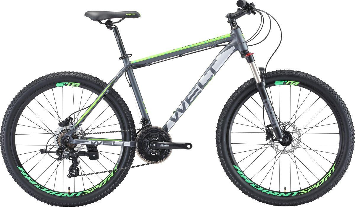 Велосипед горный Welt Ridge 1.0 HD 2019, темно-серый, зеленый, диаметр колес 26 велосипед welt ridge 2 0 hd 2019
