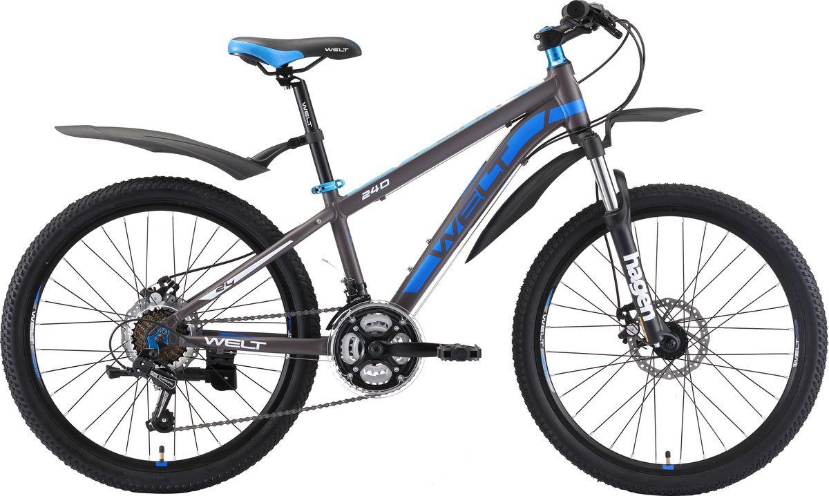 Велосипед детский Welt Peak 24 Disc 2019, серый, синий, белый, диаметр колес 24