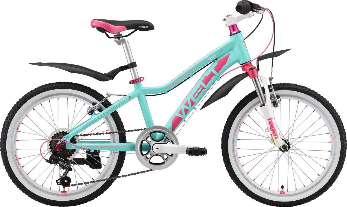 Велосипед детский Welt Edelweiss 20 2019, бирюзовый, розовый, диаметр колес 20
