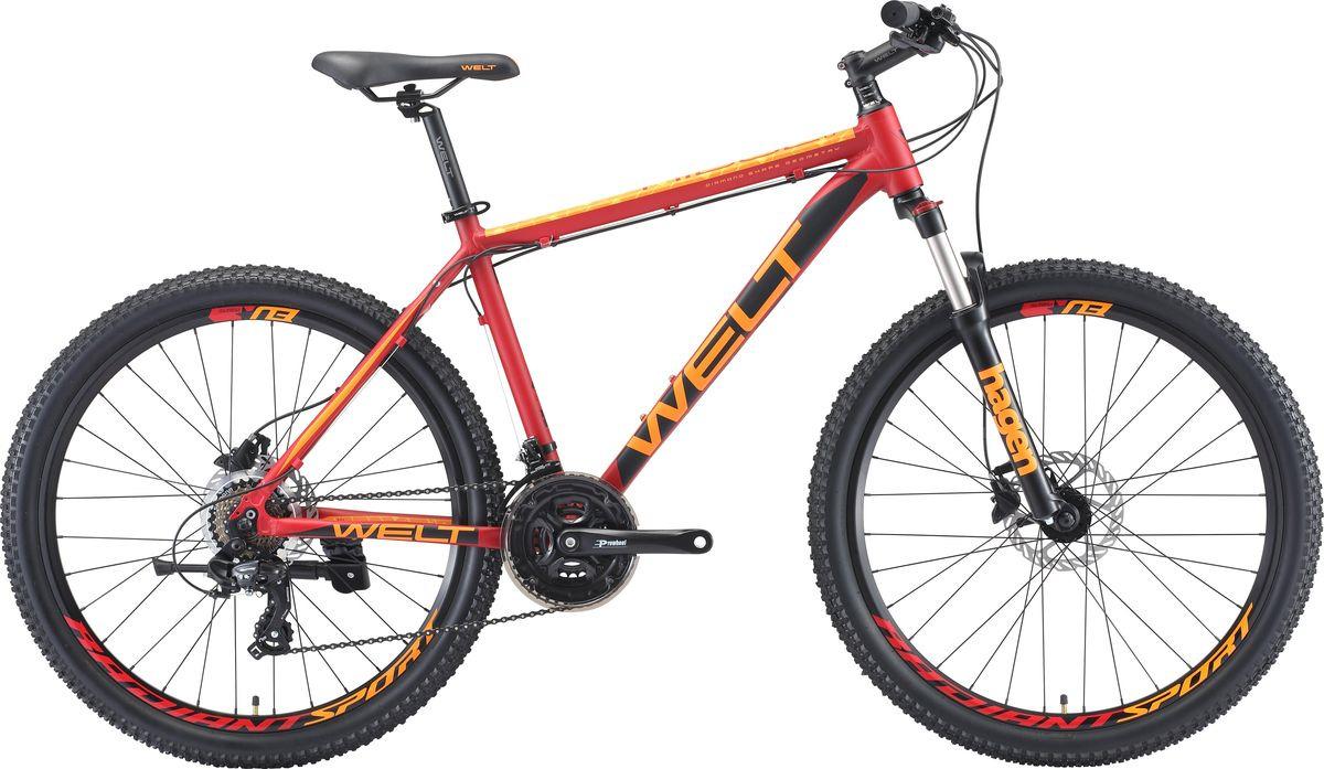 Велосипед горный Welt Ridge 1.0 HD 2019, красный, черный, диаметр колес 26 велосипед welt ridge 2 0 hd 2019