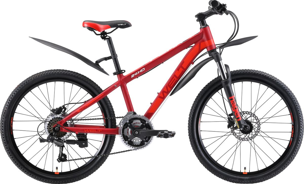 Велосипед детский Welt Peak 24 HD 2019, красный, оранжевый, диаметр колес 24