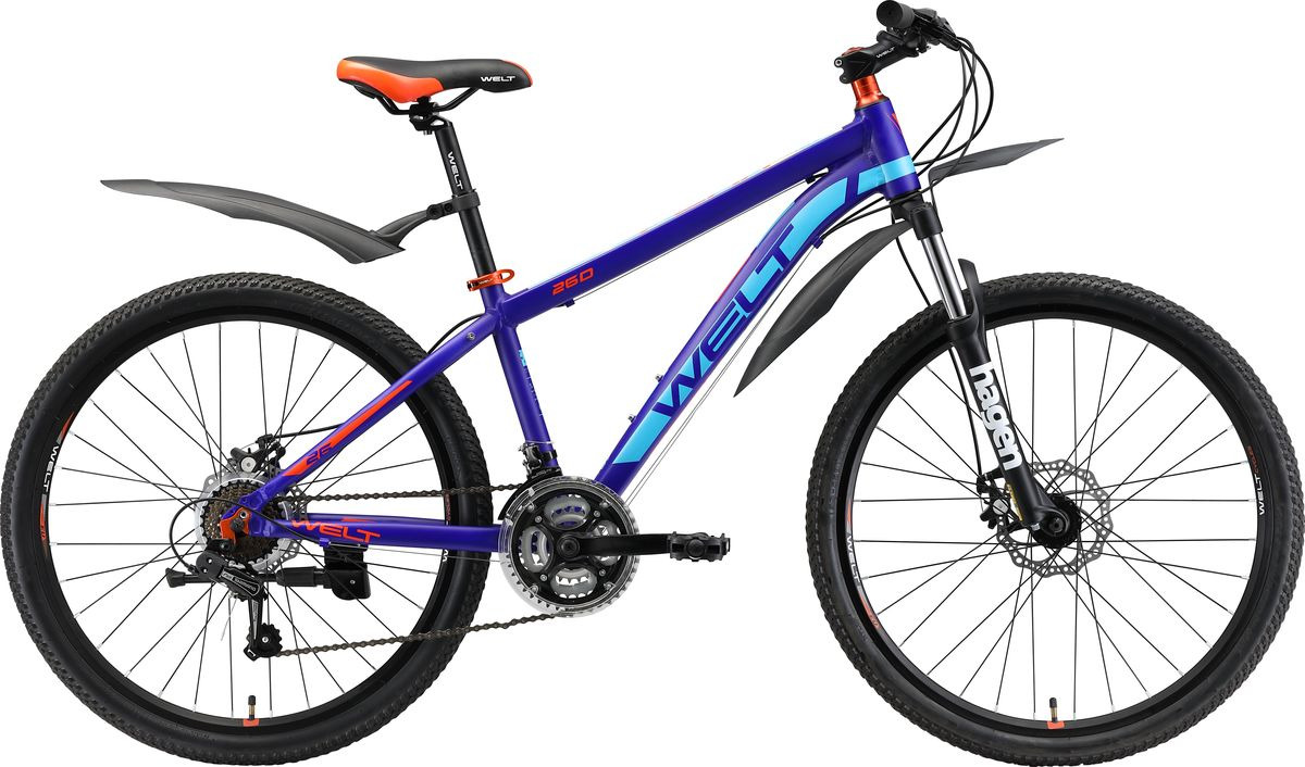 Фото - Велосипед горный Welt Peak 26 Disc 2019, темно-синий, оранжевый, диаметр колес 26 велосипед welt outback 2018