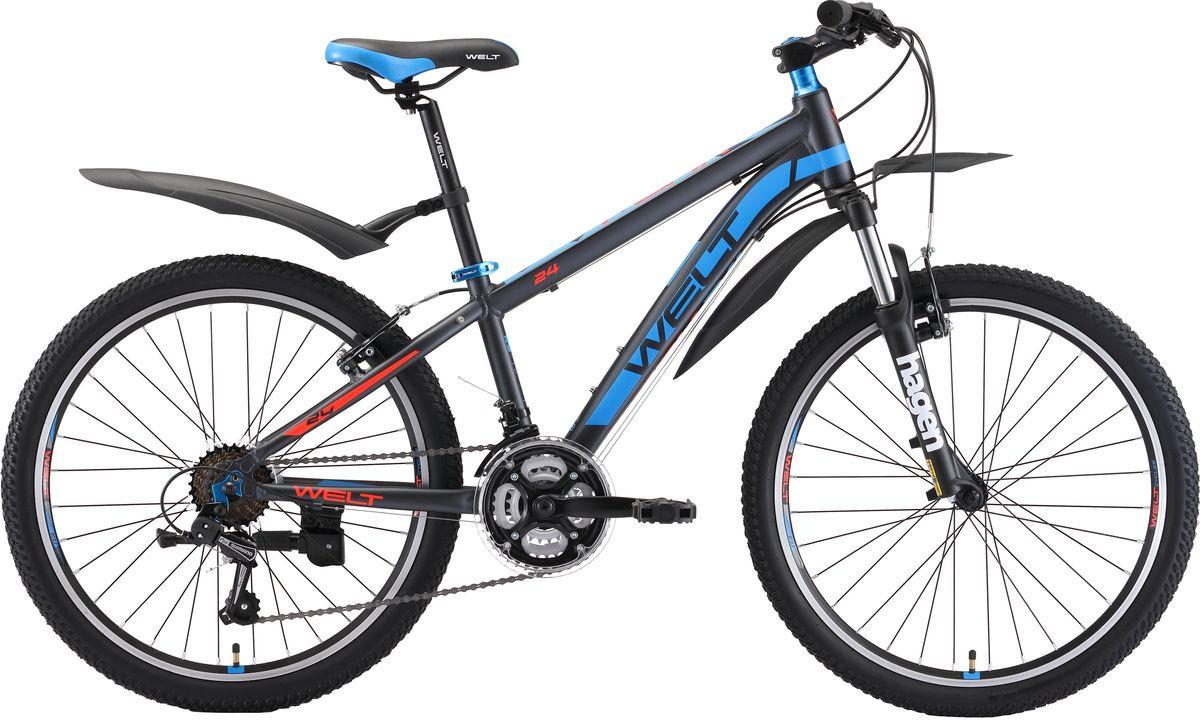 Велосипед детский Welt Peak 24 2019, серый, синий, оранжевый, диаметр колес 24