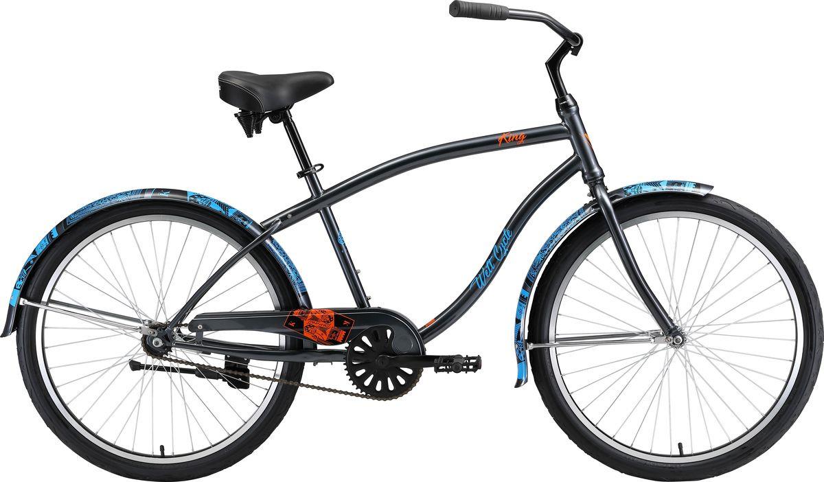 Велосипед горный Welt King Steel One 2019, черный, синий, диаметр колес 26