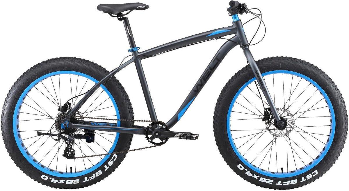 Велосипед горный Welt Fat Freedom 1.0 2019, черный, синий, диаметр колес 26
